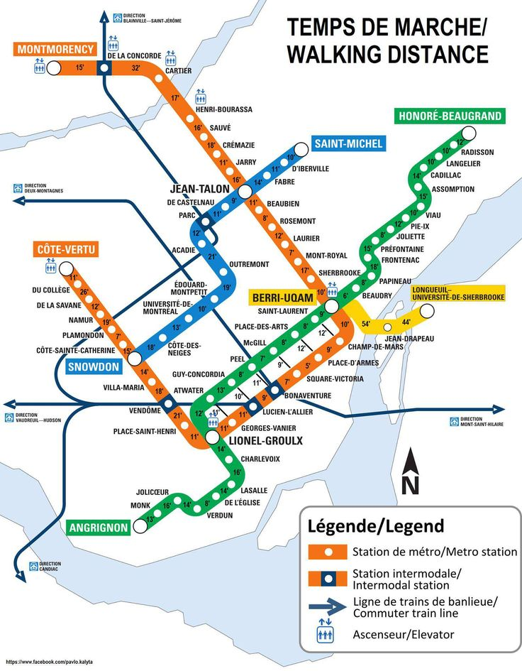 map shows walking times between each montreal metro station