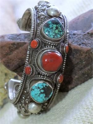 Antique Tibetan Tribal Jewelry Cuff Bracelet