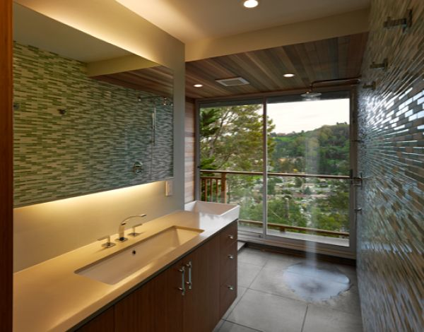 Love this open shower.  We have too many neighbors for a window like this but looks great.