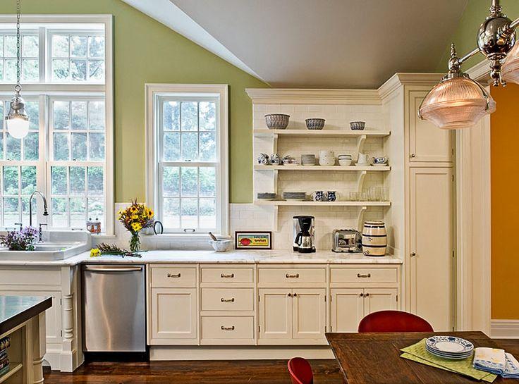 Kitchen-backsplash extended behind open shelves-cream ...