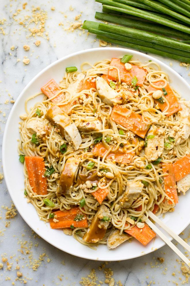 Try @culinaryhill's takeout-inspired Thai Peanut Chicken and Noodles recipe to make magic out of leftover chicken, peanut butter, pasta, and a few spices and stir-ins!