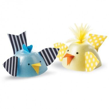 WING IT  Patterned papers in fresh colors help these egg-carton birds take flight.    Cut a Styrofoam egg carton into sections. These will become the bodies of your birds. Use patterned paper to create wings and tails, and glue them to egg-carton sections. Cut beaks out of orange card stock and use glue to attach. Draw eyes on cartons with black marker.