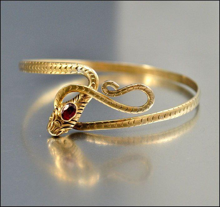 Art Deco Snake Bracelet Garnet Sterling Silver Gold by boylerpf