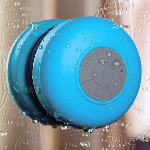 This Bluetooth Shower Speaker is a waterproof speaker that gives you the ability to rock out while in the shower! Whether you're trying to set the mood for a relaxing bubble bath or set up a wild dance-party, this speaker will give you the freedom to play music, skip songs, increase/decrease volume, and answer phone calls all from inside your shower or any where else you stick it.