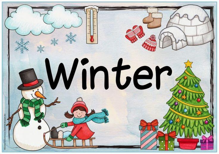 """Plakat zur Jahreszeit """"Winter""""   Auch wenn das Wetter bei uns heute mehr als sommerlich ist, habe ich das Plakat  zum Winter fertig gemacht..."""
