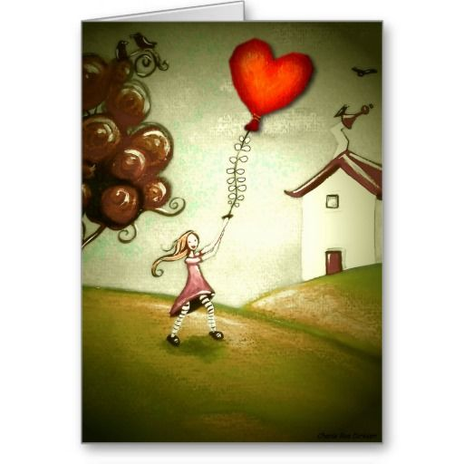 Girl Flying a Heart-Shaped Kite (Customizable) Greeting Card  #valentinesday
