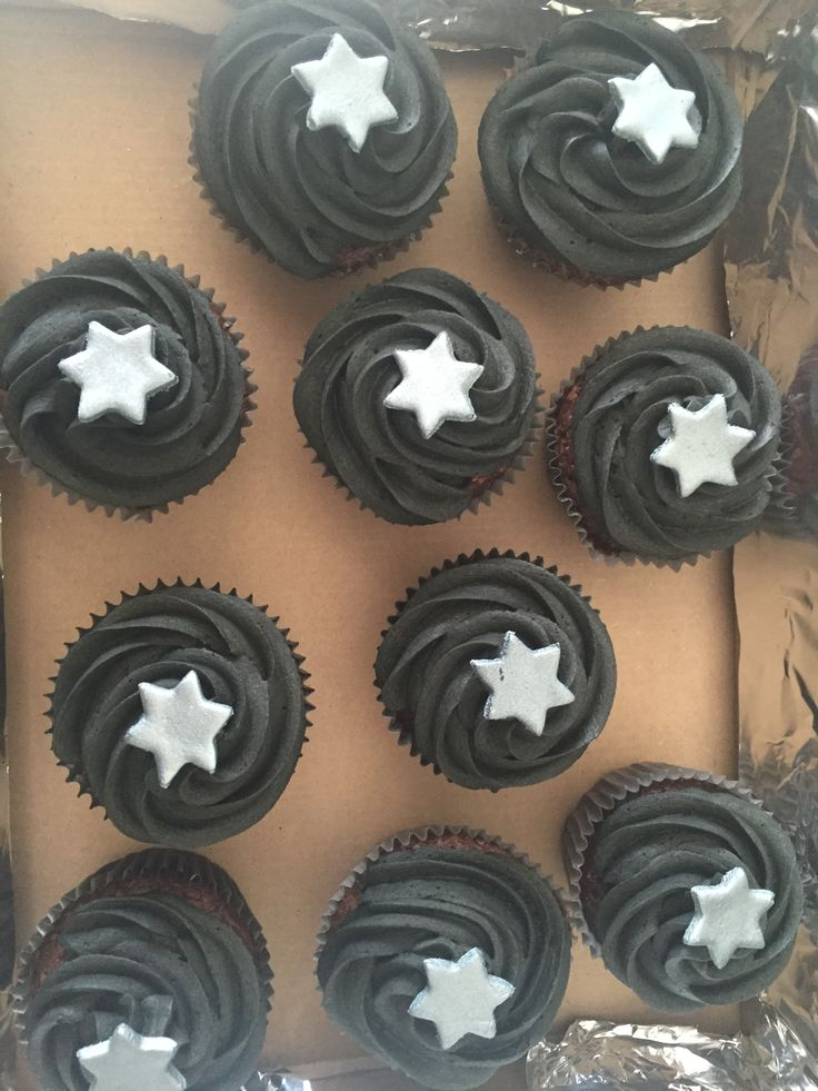Chocolate cupcakes with black coloured chocolate buttercream!