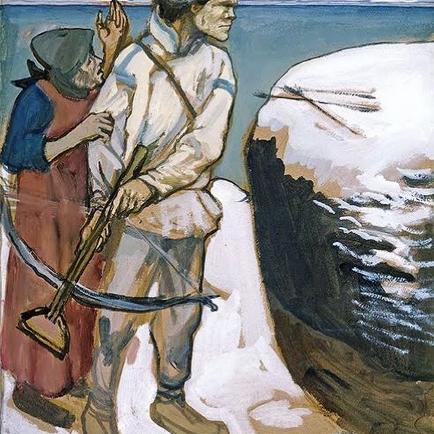 Akseli Gallen-Kallela, Vengeance of Joukahainen, sketch, 1897, gouache on paper.  Young Joukahainen is about to go and kill Väinämöinen to take revenge for his defeat in a singing contest and also to retaliate that his sister Aino drowned herself, because she didn't want to marry Väinämöinen. Joukahainen's mother is trying to persuade him out of murdering Väinämöinen.