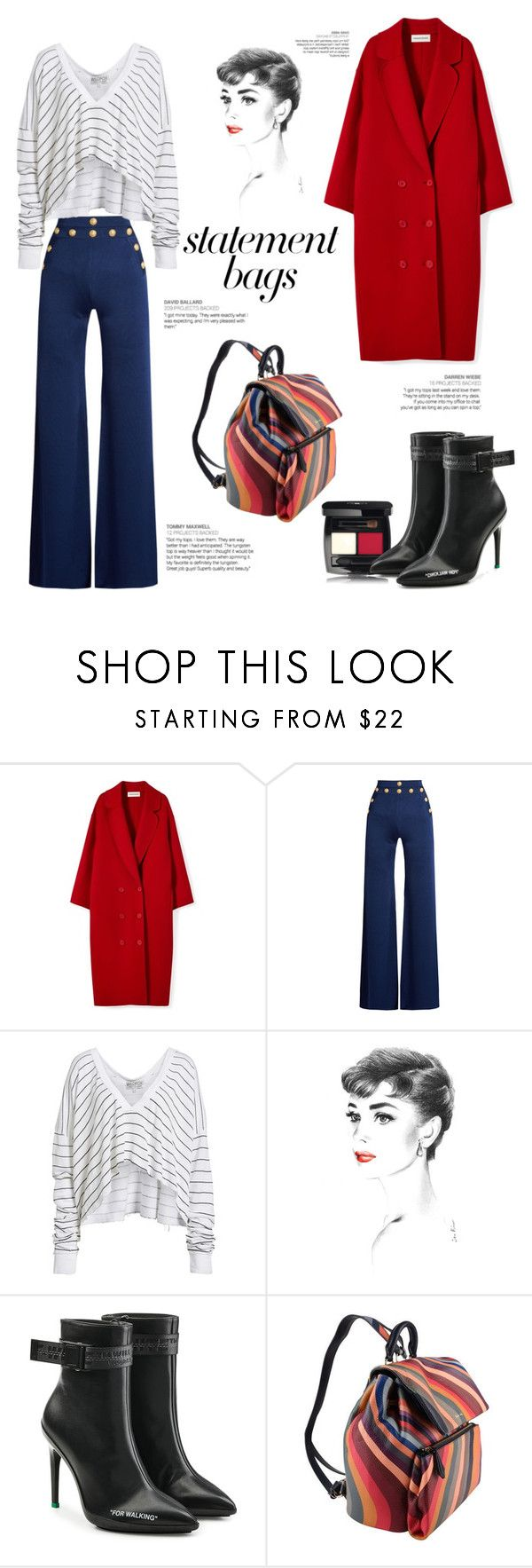 """""""little bag 🌈"""" by anoo17k ❤ liked on Polyvore featuring Balmain, Wildfox, Off-White, Paul Smith and statementbags"""