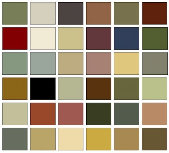 Arts and Crafts colors are a harmonious palette taken from nature. Earthtones including Ochre, Madder red, Hunter and Olive greens and blue, gray, and beige shades of Stone predominate. They are dusty, muted, and soft tones that generally avoid pastels and primary colors.
