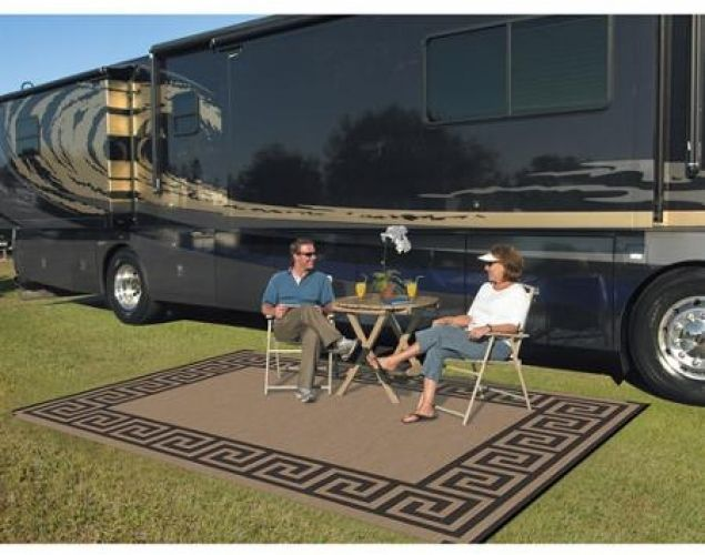 Patio Mat Indoor Outdoor Porch Rv Yard Rug Carpet Reversible Picnic Greek Key #PatioMatIndoorOutdoor #Mediterranean