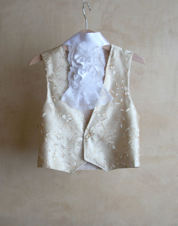 Children Gold Vest in gold damask with lace jabot Carnival Costume 18th century  Pirate captain Hook Venice Carnival (45.00 EUR) by PABUITA