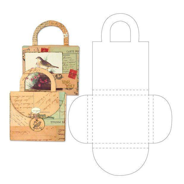 Шаблоны открыток в виде конвертиков и кармашков