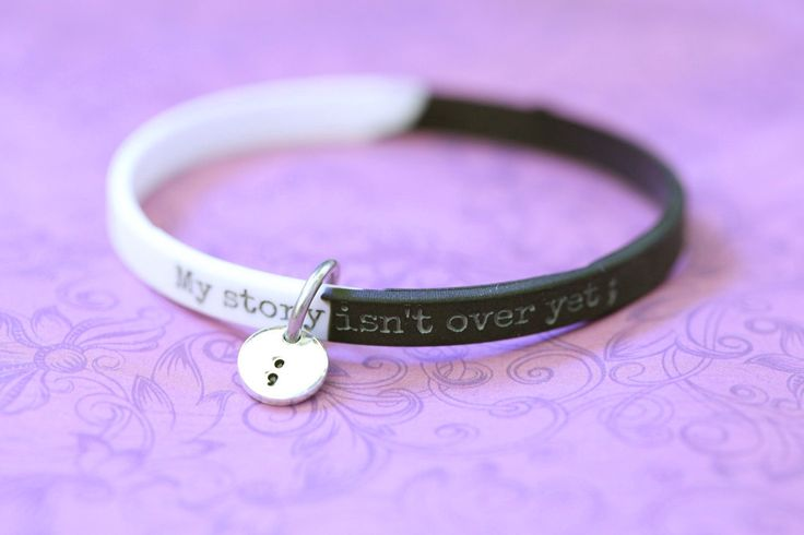 Hand Stamped Inspirational Semicolon Project Bracelet - Semicolon Bracelet - My Story Isn't Over Yet ;  - Semicolon Project - Silicone (4.00 USD) by iCraftCafe