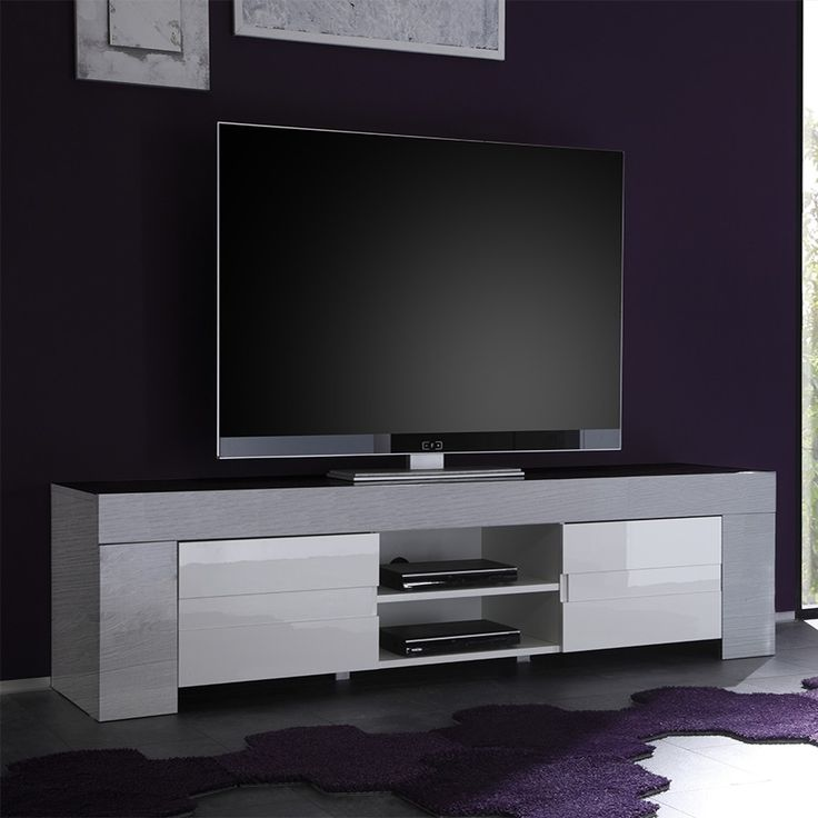 meuble tv blanc laqu et bois gris moderne elios 2 salon design ou contemporain table basse. Black Bedroom Furniture Sets. Home Design Ideas