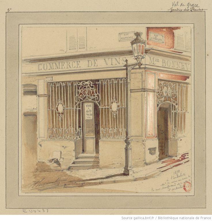 Paris 5e - A l'arbalète, maison de vins au coin de la rue Mouffetard et de celle de l'Arbalète : [dessin] / Jules-Adolphe Chauvet