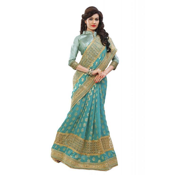 Aqua Blue Saree With Nice-looking Fancy Pallu