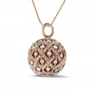 Roodgouden Diamanten Halskettingen - 2.00 caraat diamanten hanger in rood goud