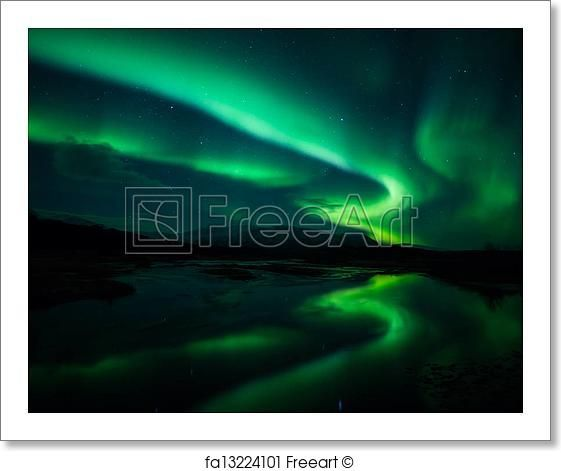 Northern lights in Iceland - Artwork  - Art Print from FreeArt.com