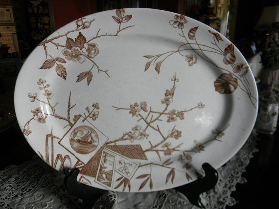 Circa 1880 Victorian Aesthetic Movement Brown Transferware Platter Oriental Blossoms Bridge Sailboat