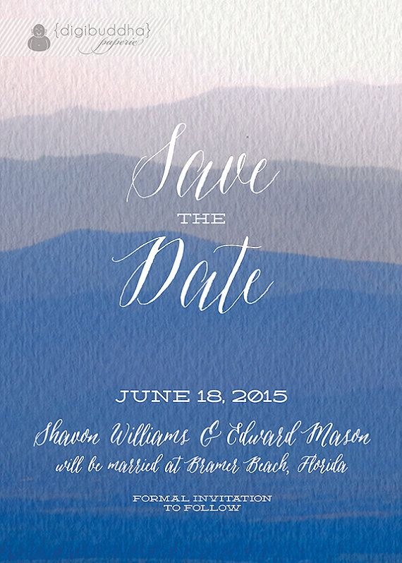 blue watercolor save the date card beach ocean invitation painted shabby chic textured wedding printable digital or printed shavon style