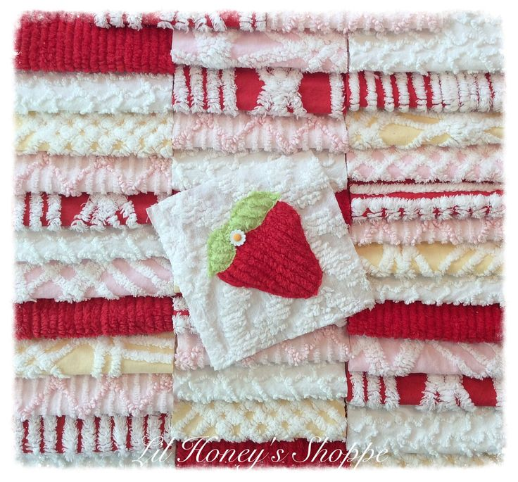 Chenille fabric quilt squares 40-6inch, 100% cotton,Strawberry patch with bonus fat quarter, red by lilhoneysshoppe on Etsy