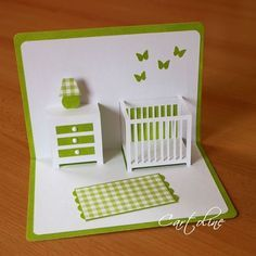 New baby pop up card. Chest of drawers and crib are rectangular pop ups. Patterns is from here: http://fannyscrap.blogspot.fr/2012/02/carte-de-naissance.html
