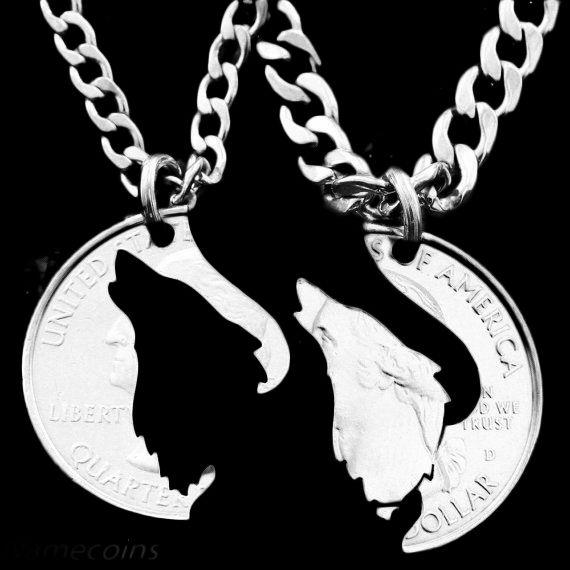 Половина Доллар Ожерелье Воющий Волк Кулон Блокировки Ожерелье Дружба, пару Монет Colar Ювелирный Квартал Chorker Ожерелье