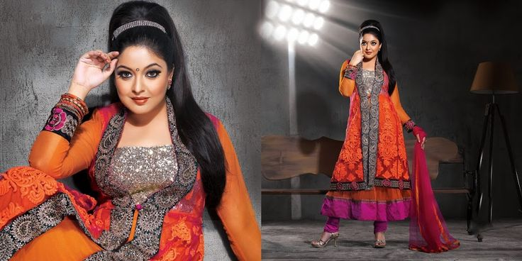 Fancy Magenta, Orange & Tomato Salwar Kameez | StylishKart.com