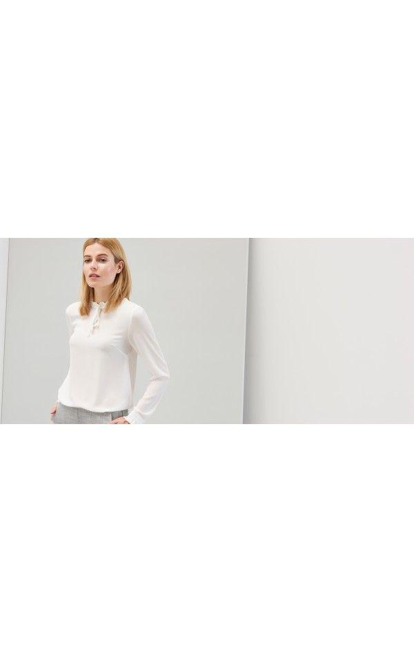 Bluzka z wiązaniem przy szyi, SALE 2016 C RO, kremowy, RESERVED