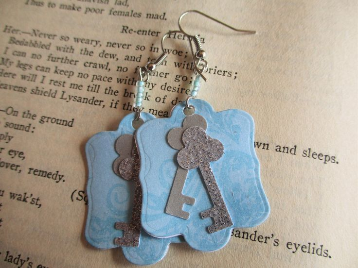 Ephemeral Earrings: Fairytale Turquoise with Silver Glitter Keys Paper Statement Earrings. Die Cut Rectangle with Glass Seed Beads. Enchant! by TheRaisinFairy on Etsy