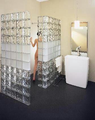 Doorless glass block shower.
