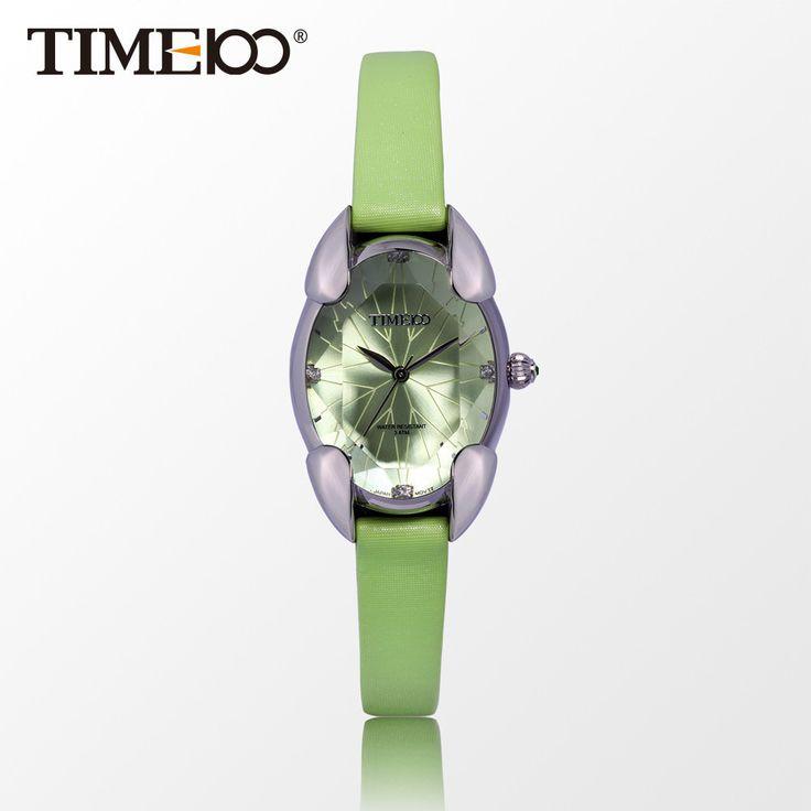 Quartz Watches Green Leather Strap Waterproof Cutting Crystal Mirror Ladies Wrist Watches