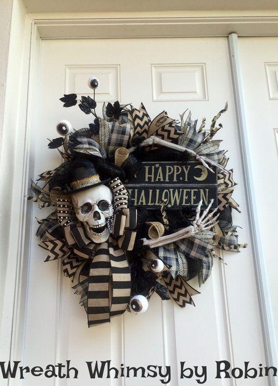 Superb Primitive Halloween squelette noir u Tan par WreathWhimsybyRobin