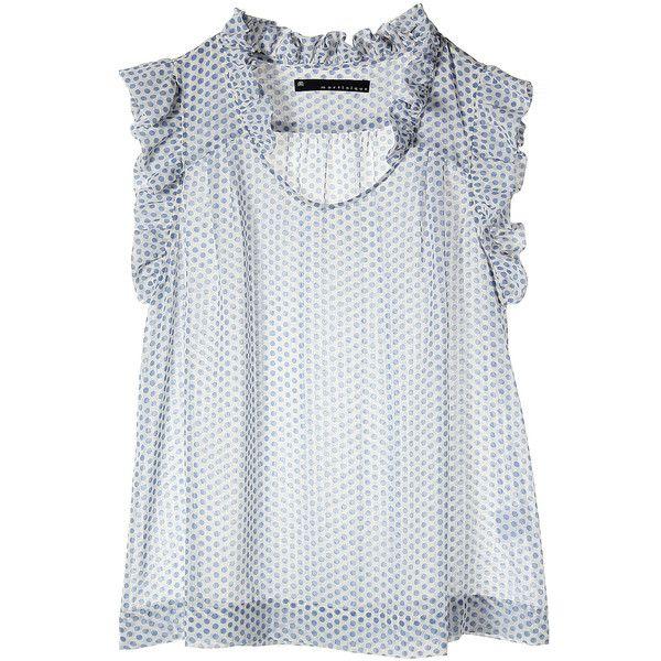 【ELLE SHOP】エステルシフォンドット柄ブラウスブルー|マルティニーク(martinique)|ファッション通販 エル・ショップ ($140) ❤ liked on Polyvore featuring tops, blouses, shirts, blusas, shirts & tops and shirts & blouses