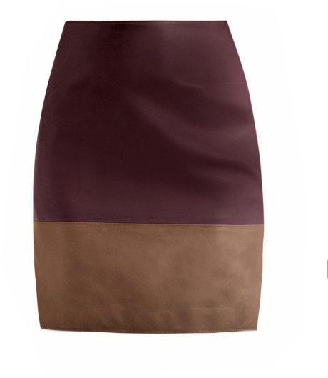Richard Nicoll Bicolor Falda de cuero en marrón (burdeos) - Lyst