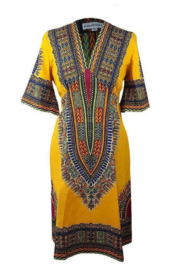 Tribal Dashiki coton Caftan robe  Taille 14 par Sapelle sur Etsy, £50.00