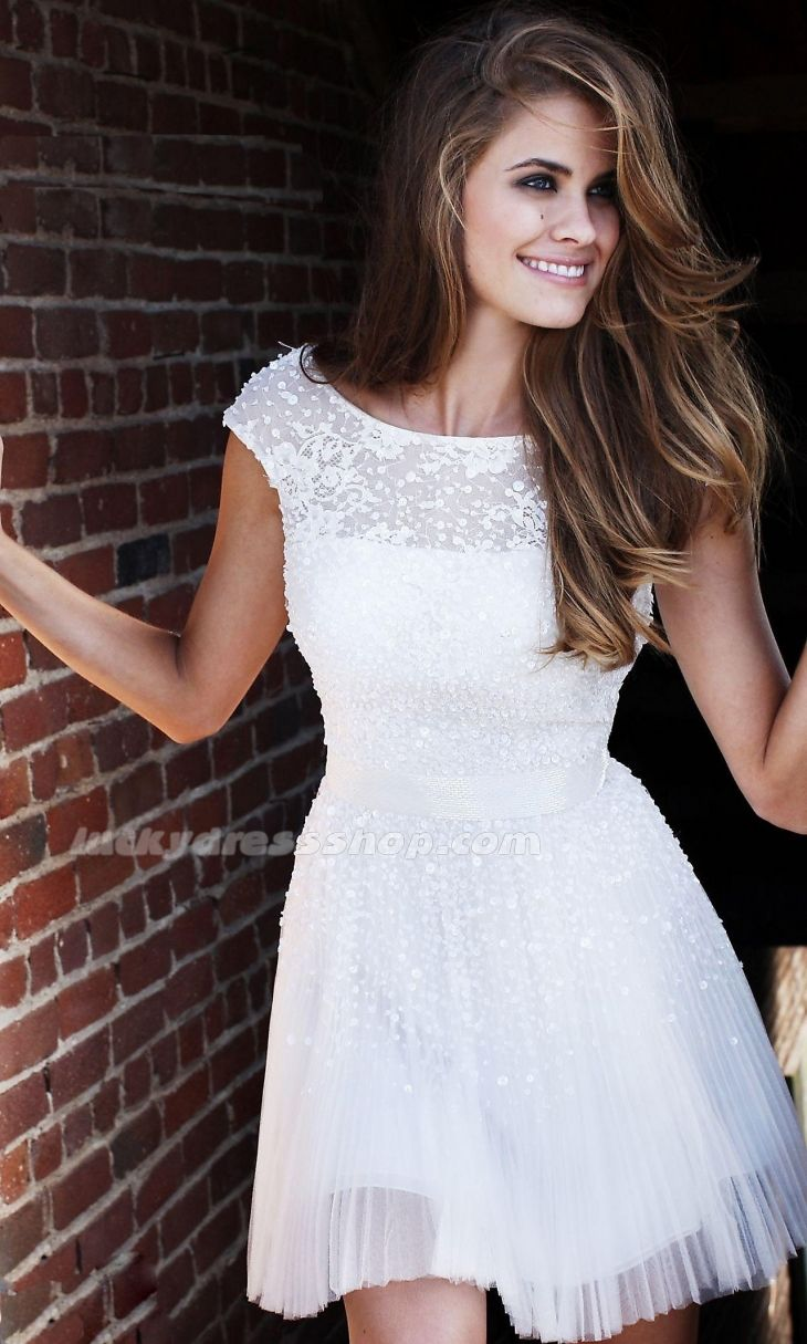 White A-Line/Princess Short/Mini Empire Homecoming Dress With Backless And Short Sleeve (MF59FD)