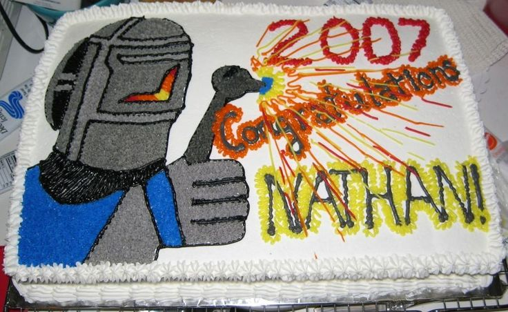 Welder Graduation Cake student enjoyed welding so i found some clipart online to model my welder after... this was a double layer sheet...