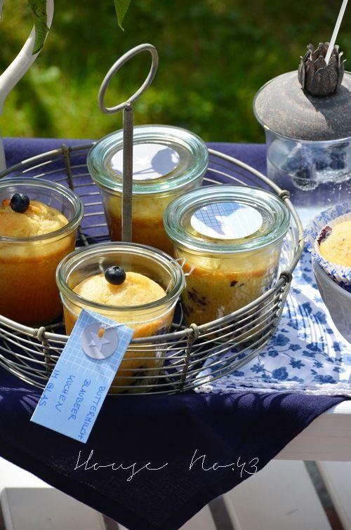 Blaubeer Buttermilch Kuchen im Glas - blueberry bottermilk cake in glas