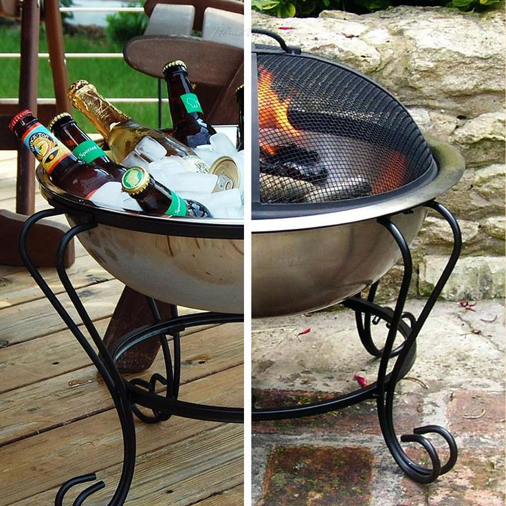 "Stainless Steel Beverage Tub / Portable Fire Pit, 18 "" Cool Idea for your party."