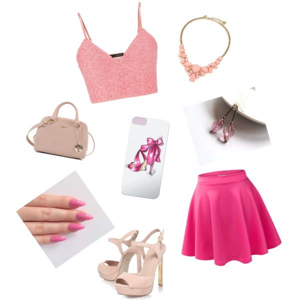 Girly by artemisfantasy on Polyvore featuring beauty, Kate Spade, Furla, maurices, KG Kurt Geiger, Pink, Beauty, girly and fashiontrend