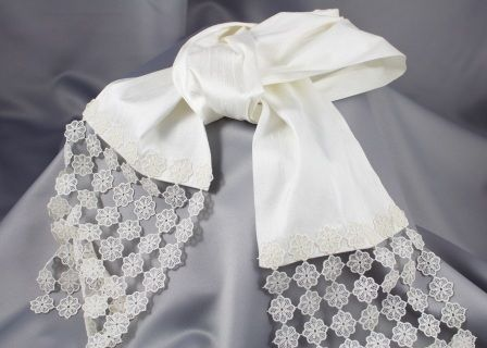 """hand joining"" sash/scarf for Serbian Orthodox   weddings  luxurious ivory silk sash  imported european lace trim "