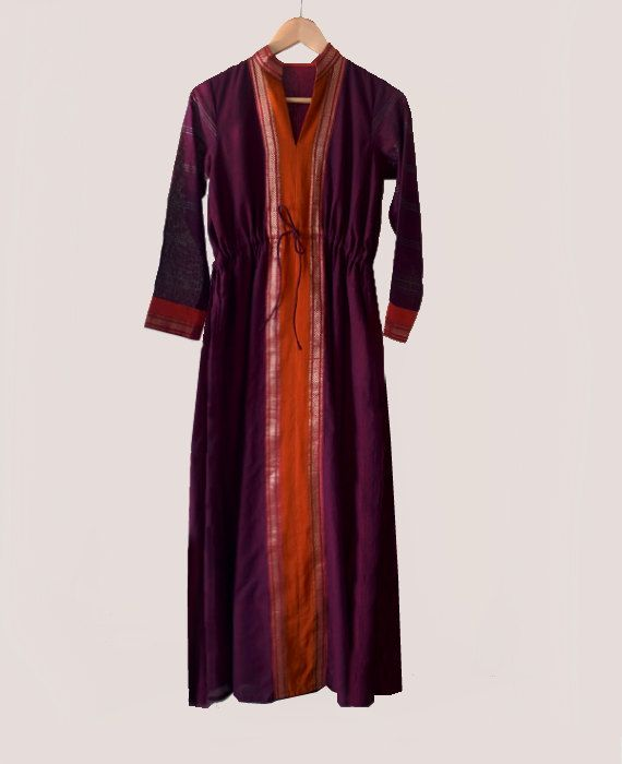 Maxi Kaftan Dress in Purple and Gold Crafted from a traditional Indian saree by MograDesigns