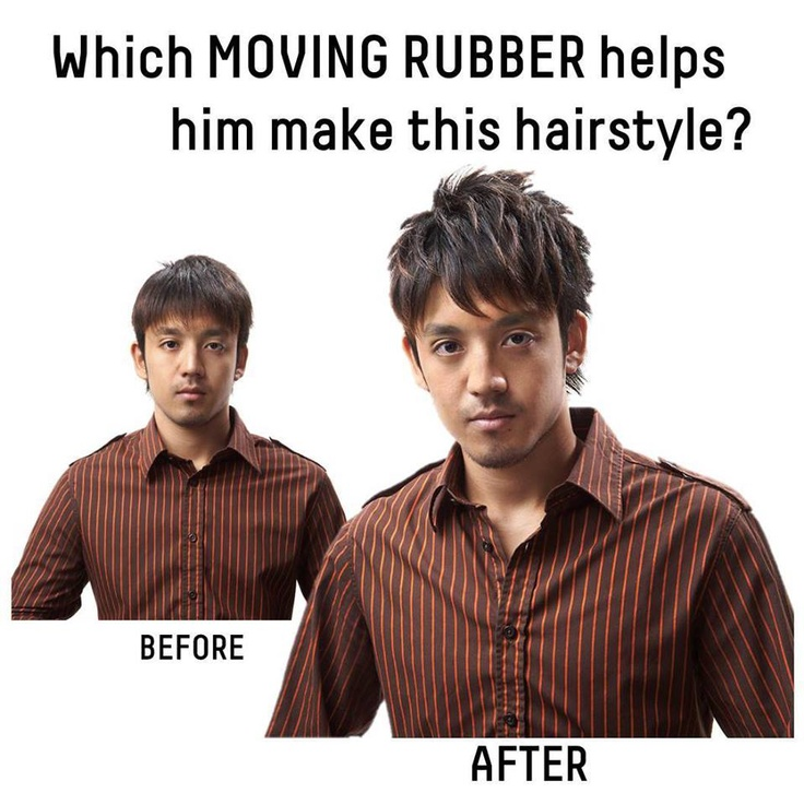 Look at the picture and fill in the blank below: GATSBY MOVING RUBBER _______ made this hairstyle.  A. SPIKY EDGE  B. MULTI FORM  C. AIR RISE  D. WILD SHAKE  Hint: http://www.gatsbyglobal.com/technique/