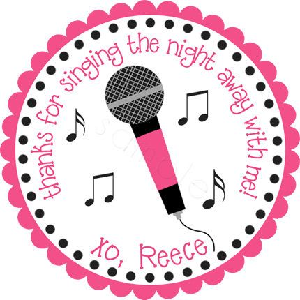 Karaoke Party Microphone Personalized Stickers - Party Favor Labels, Gift Tag, Birthday Stickers, Girls Night Out - Choice of Size. $6.00, via Etsy.