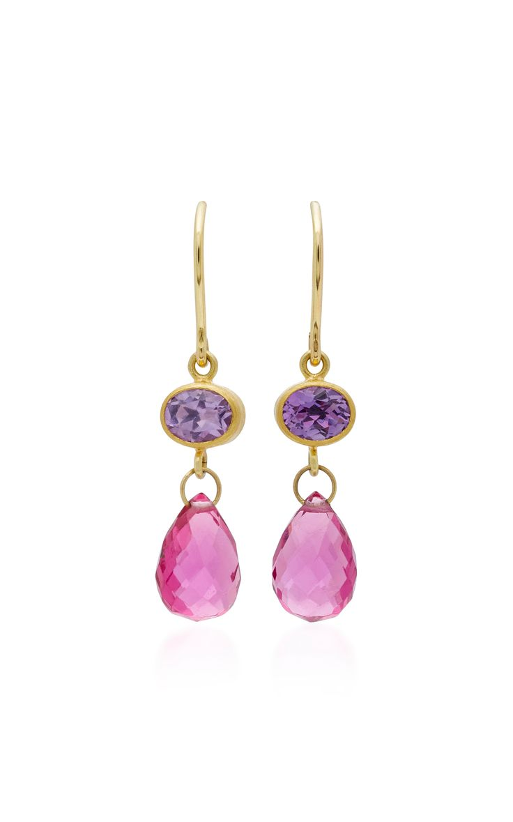 Apple & Eve 18K Gold Amethyst and Tourmaline Earrings by MALLARY MARKS Now Available on Moda Operandi