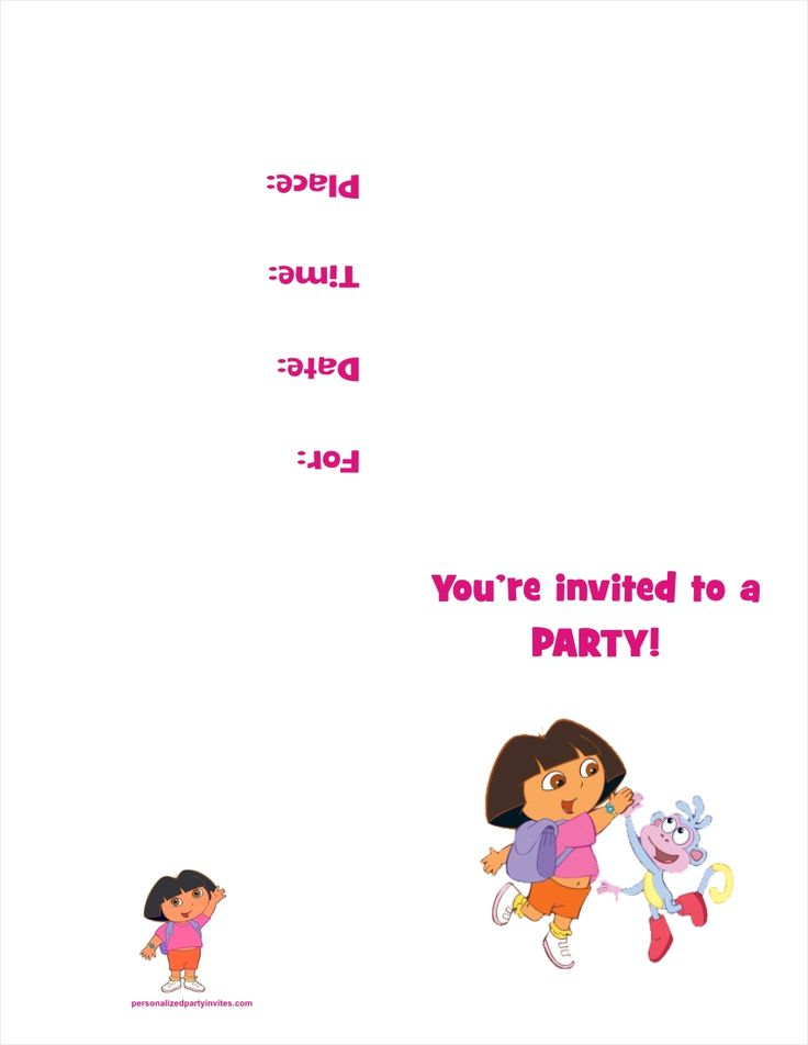 32 best Dora the Explorer party 2nd bday images – Printable Dora Birthday Invitations