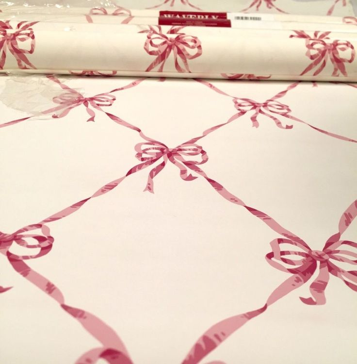4 Double Rolls Waverly Wallpaper Vintage White w/ Pink Bows Ribbon Prepasted Lot #Waverly #Feminine
