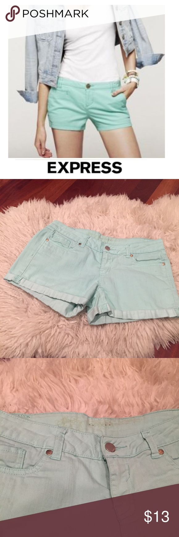 "Express Low Rise Cuffed Mint Green Jean Shorts Express Low Rise Cuffed Mint Green Jean Shorts. 8"" rise. 3.25"" inseam. You can see some light discoloration at the bottom of the cuff pants but otherwise really good condition! Feel free to make an offer or bundle & save! Express Shorts Jean Shorts"